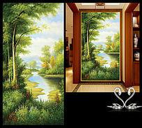 油画风景玄关画
