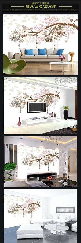 簡歐花卉3D軟包背景墻