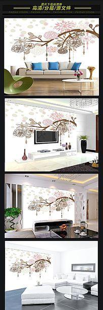 简欧花卉3D软包背景墙