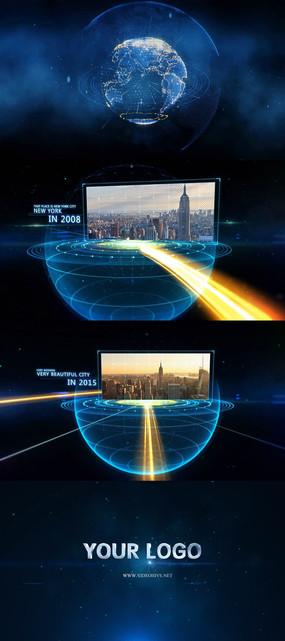 高科技地球企业大事记历程宣传片片头AE模版