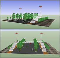过街天桥人行天桥的SKP模型
