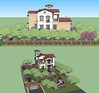 户外别墅带院子的SKP模型素材