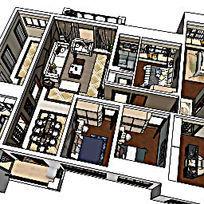 两个草图现代风格两套设计风格室内家装样板草图大师SU模型skp模块