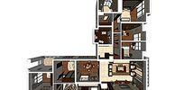 新中式风格平层室内家装样板草图大师SU模型skp模块