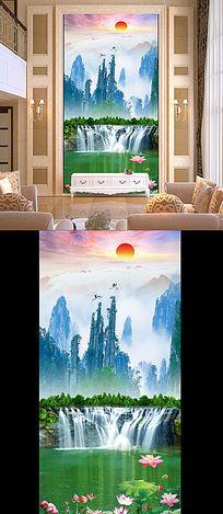 自然风光瀑布图客厅山水画玄关