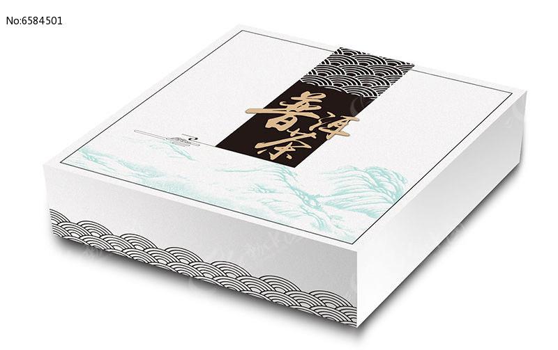 干净白色祥云底纹普洱茶包装盒图片