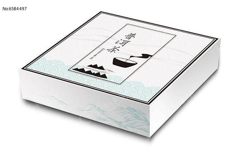 简约中国风山峰文化祥云底纹普洱茶包装盒图片