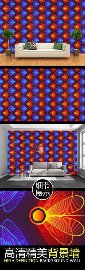 抽象瑩火蟲光影四方連續圖案背景墻