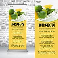 高清新鲜柠檬苹果水果拼盘农产品水果易拉宝
