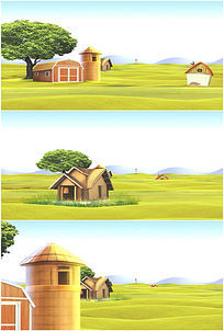卡通农场乡村田园风光高清视频素材