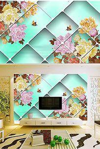 牡丹花彩雕立体软包背景墙