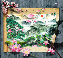 山水国画卷轴画立体画墙画设计