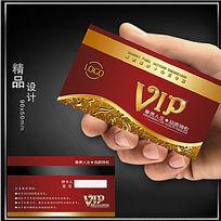红色高档名片VIP卡片模板psd下载