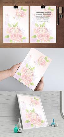 粉色牡丹花信纸背景