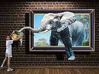 高清逼真大象3d立体壁画下载