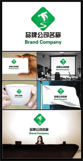 鸽子和河流组成的绿色主题公司标志