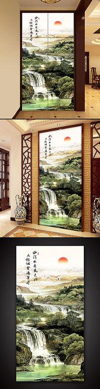 旭日東升國畫山水風景畫客廳裝飾畫玄關