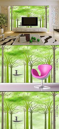 立体3D抽象树林飞鸟船家背景墙壁画