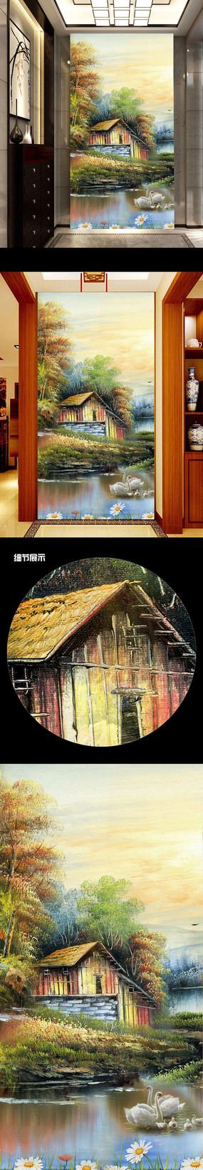 田园小屋手绘玄关背景墙