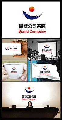 海浪太阳图案的公司标志