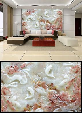 玉雕荷花鲤鱼图壁画背景墙 TIF