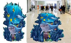 3D鲨鱼地贴画