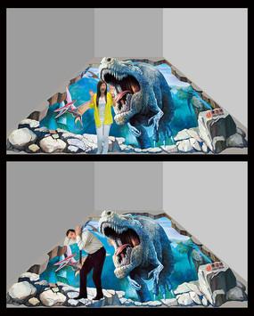 高清逼真霸王龙恐龙3D立体地贴