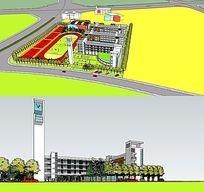 学校整体规划设计SKP模型