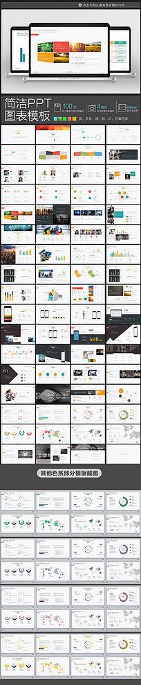 100页4套色欧美商务风格简约的ppt图表元素模板