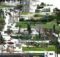 公园绿化透视立面PS素材