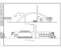 弧形现代钢构架大门
