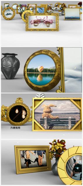 3d桌面金色相框展示模板