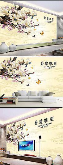 彩雕莲花水墨中式背景墙