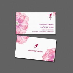 高端大气简约粉红色花瓣女性名片