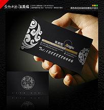 黑色有花纹高档创意名片设计