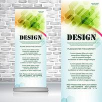 绿色六边形蜂窝广告艺术传媒公司易拉宝