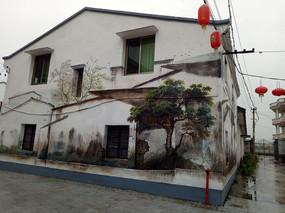 坡屋顶中式建筑立面绘画