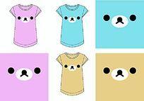 三色小熊女装T恤定位印花矢量图无限缩放