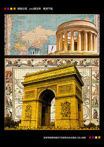 创意地图复古海报世界地图背景下载