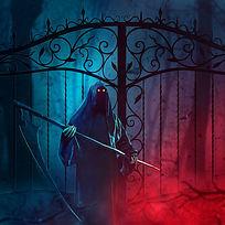 看守大门的死神墙纸