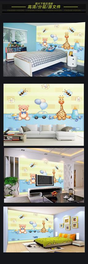 卡通小动物儿童房背景墙
