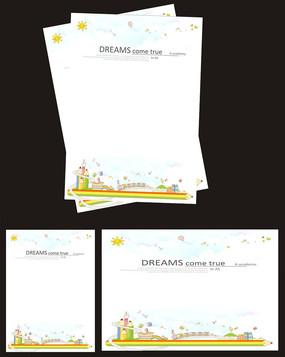 可爱卡通信纸背景设计模板