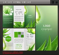 植物精华化妆品三折页设计