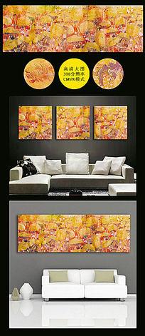 橙色油画菊花无框画油画