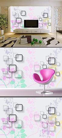 现代简约花朵花卉蝴蝶方框背景墙