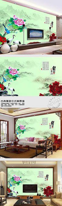 山水花鸟富贵吉祥中式背景墙
