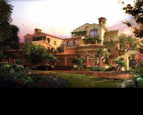 别墅花园景观PSD效果图