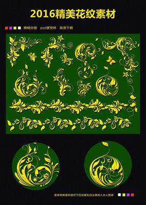 欧式背景金色底纹花纹素材下载