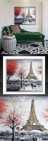 欧式公园巴黎铁搭油画
