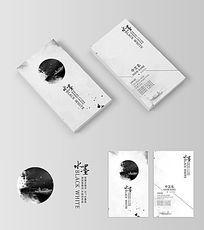 中国风简约水墨名片设计模板